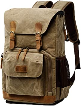 MonthSir Waterproof Canvas Camera Bag Backpack Camera Case Bag for 14 inch Laptop and Tripod Dark Gray