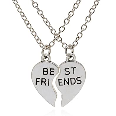 Friendship Pendant Necklace Amazon epic brand best friend necklaces silver stainless steel epic brand best friend necklaces silver stainless steel engraved broken heart friendship pendants 20 inches audiocablefo