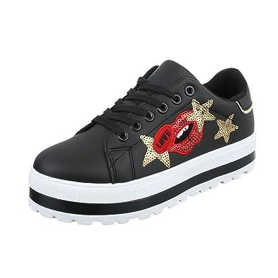 Freizeitschuhe Design Ital Schuhe Low Schnürsenkel Sneakers