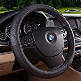 Movement Fashion Genuine Leather Car Steering Wheel Cover Fits 38cm 15 inch Auto Steering Breathable Anti Slip Skidproof - Black