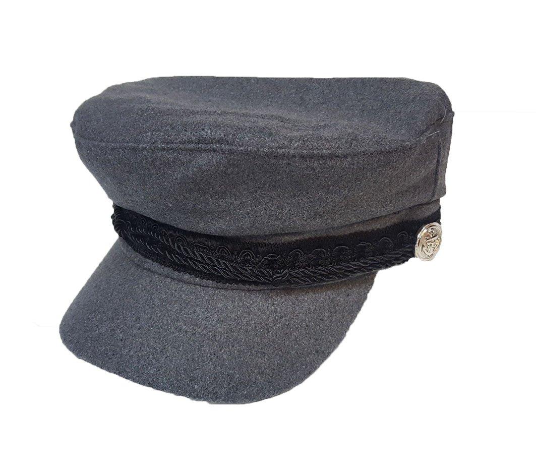 Gorra de moda Baker Boy estilo capitán gris pequeño/mediano 57 cm KGM