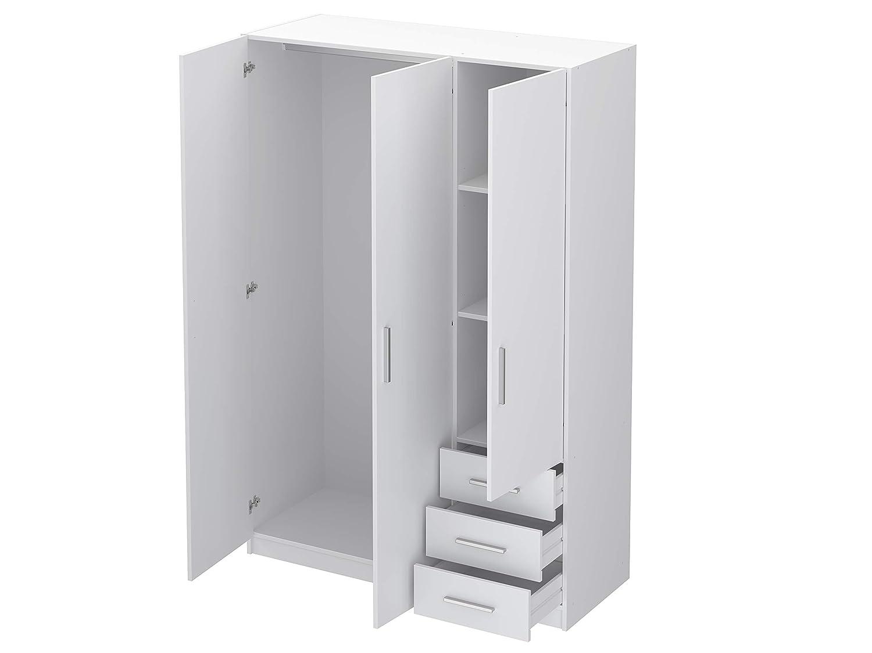 51 x 129 x 191cm White Movian Indre 3-Door 3-Drawer Wardrobe