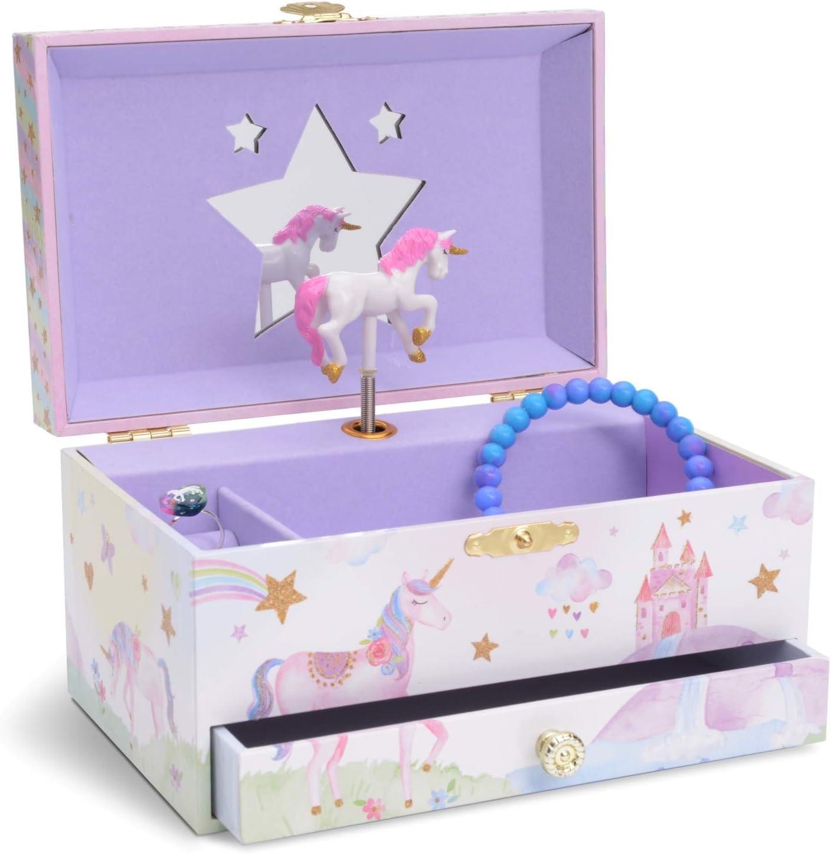 Jewelkeeper - Caja Musical para Joyas para Niñas, con Unicornio Arco Iris y Estrellas de Lentejuelas, con Cajón Extraíble - Melodía The Unicorn: Amazon.es: Juguetes y juegos