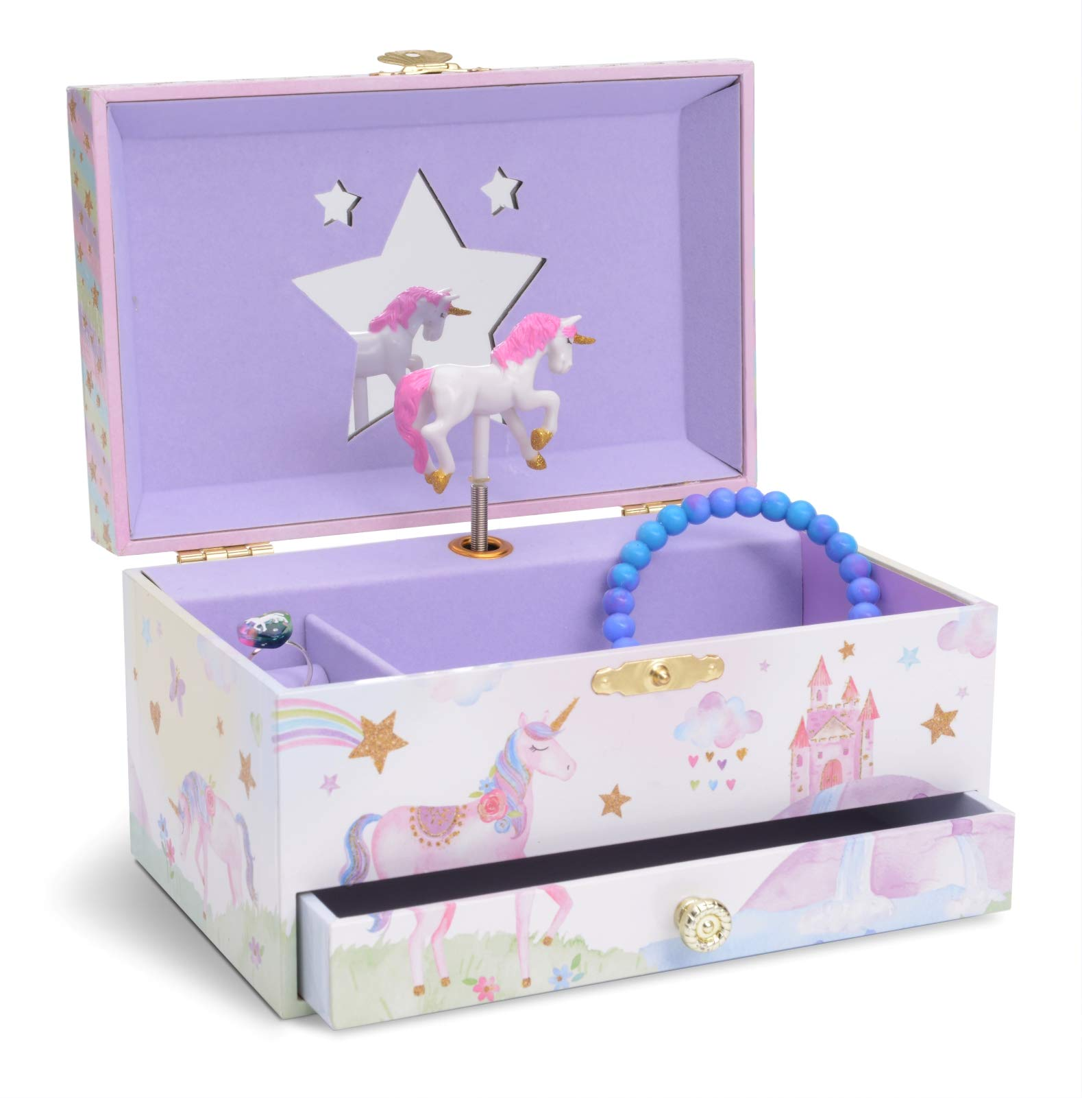 Jewelkeeper Girl's Musical Jewelry Storage Box with Pullout Drawer, Glitter Rainbow and Stars Unicorn Design, The Unicorn Tune