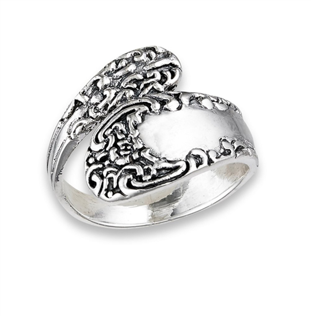 Vintage Celtic Knot Spoon Victorian Style Ring Sterling Silver Band Size 9 by Sac Silver