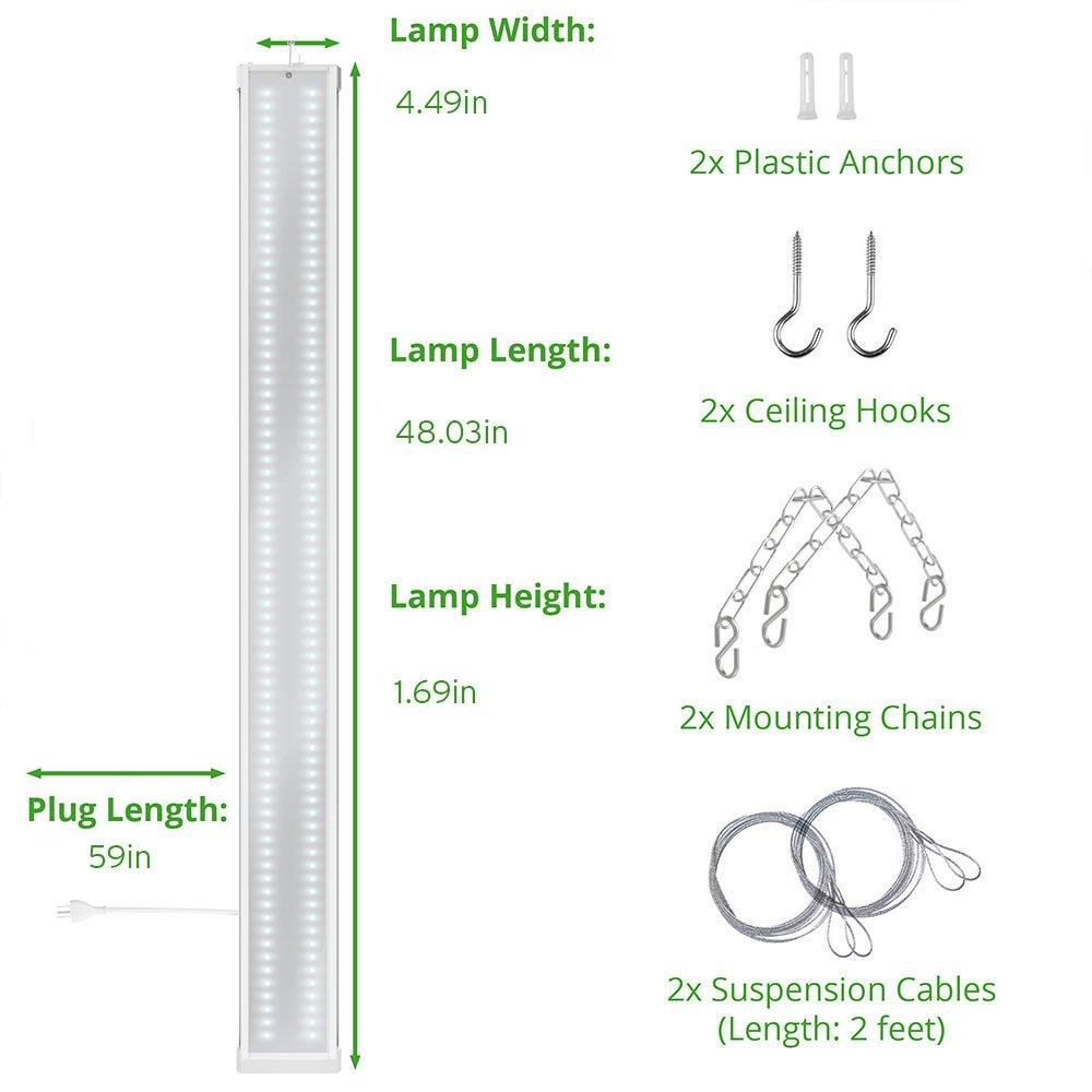 Sunco Lighting 10 PACK - ENERGY STAR 4ft 40W LED Utility Shop Light FLAT DESIGN 4500lm 120W Equivalent, LED Fixture, 5000K Daylight Ceiling Light, Garage/Basement/Workshop, Linkable, ETL, Clear by Sunco Lighting (Image #5)