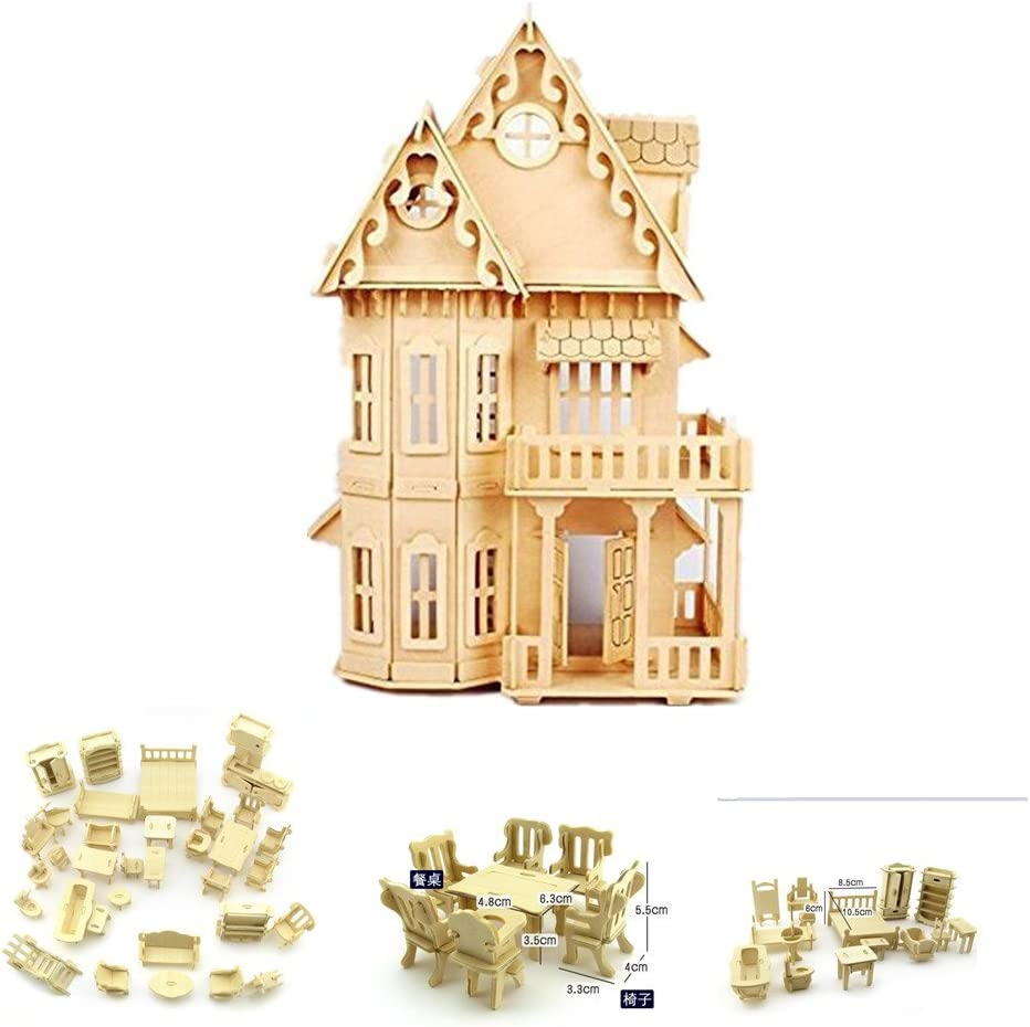 "NWFashion 17"" Wooden Dream Dollhouse 2 Floors with Furnitures DIY Kits Miniature Doll House (Gothic Furnitures Sets)"