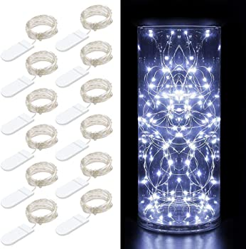 12-Pack Minger 3.3ft 20 LEDs Cool White Battery Operated String Lights