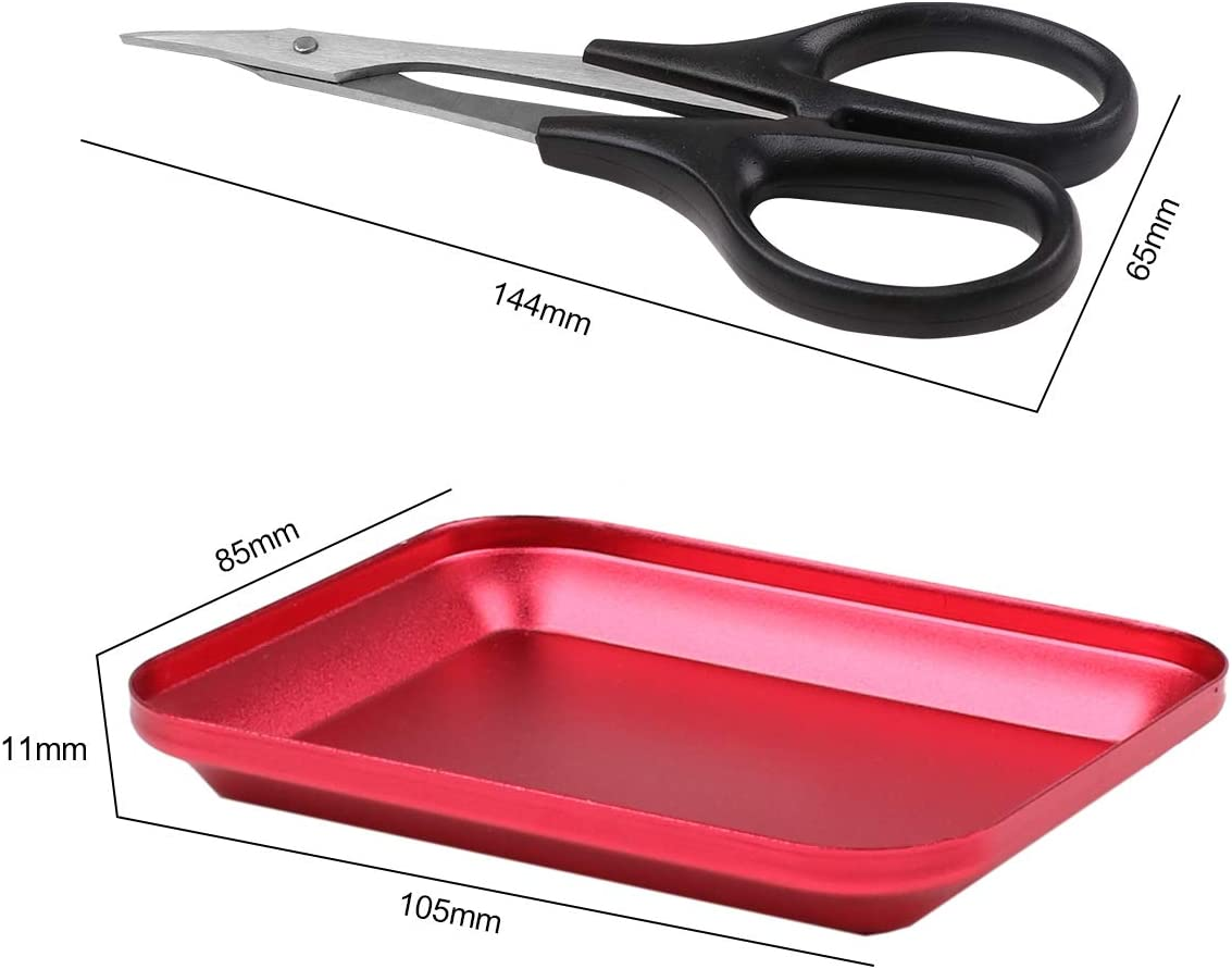 Hootracker Hole Puncher Reamer,Curved Trimming Scissor,Bearing Steering Hub,Cross Wrench Sleeve and Trays with Magnetic Pad for RC Car Repair Tools