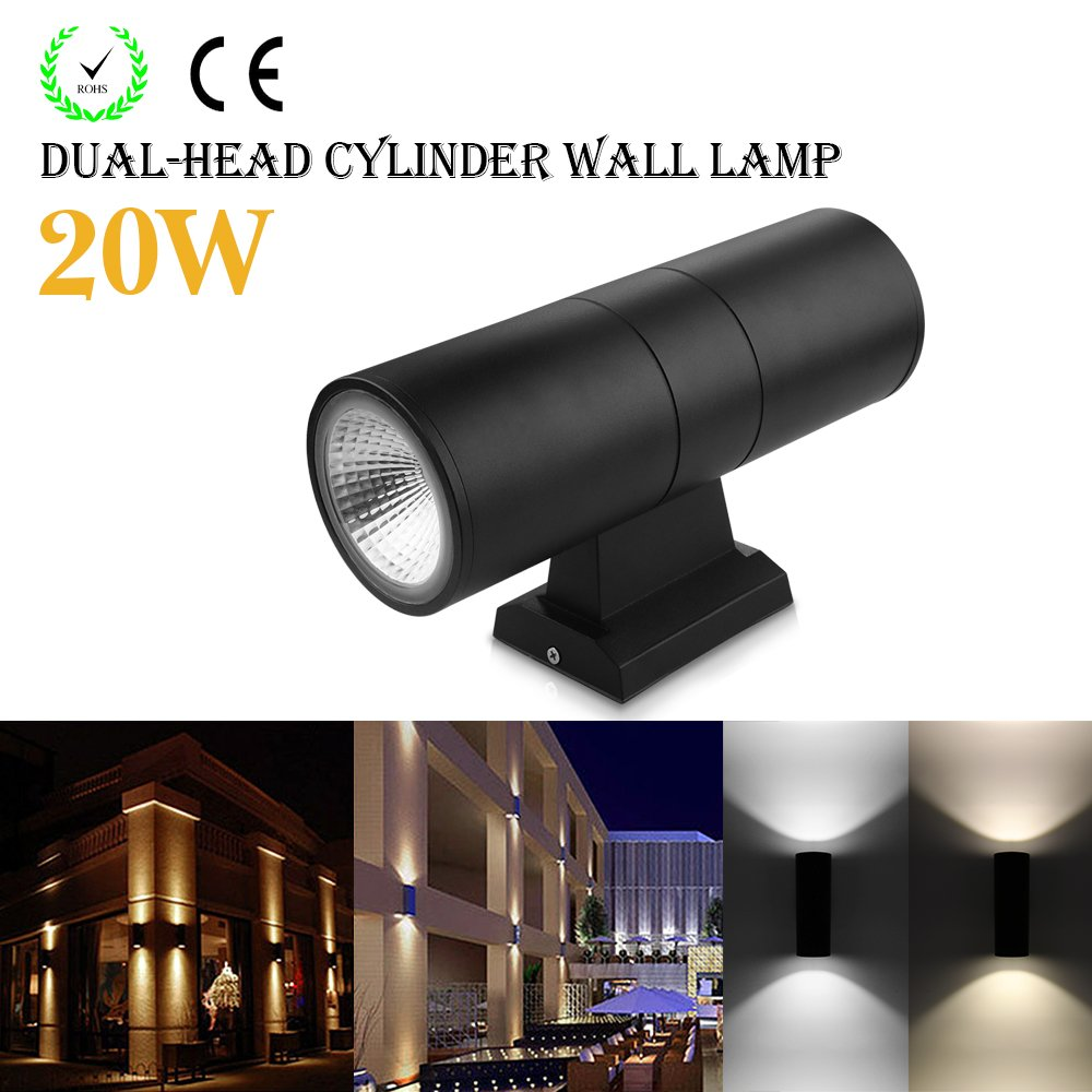 Houkiper LED Wall Light 20W cob Up Down Dual-Head Cylinder IP65 Waterproof Aluminum Wall Sconces Lamp Lantern Light Fixture for Living Room Cafe Holtel Corridor Indoor Outdoor Decoration (Warm White)