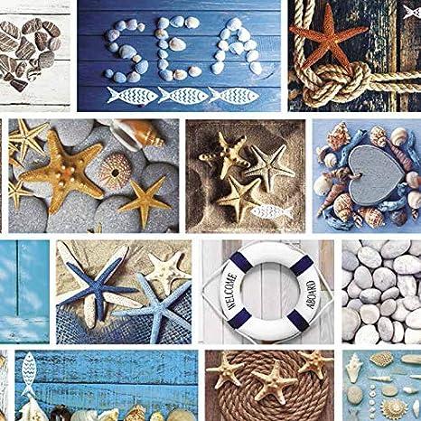 Mambo-Design Wachstuch Marina Blau /· Eckig 80x100 cm /·L/änge /& Breite w/ählbar/· abwaschbare Tischdecke 0219