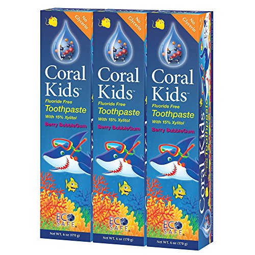 Coral Kids Natural Fluoride Free Toothpaste Berry Bubble-Gum Flavor - Natural, Safe Effective Cavity Protection - Made with Ionic Coral Minerals Free of Sodium Lauryl Sulfate - 6 Ounce (Pack of 3)