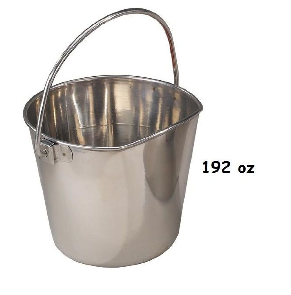 Flat Sided Stainless Steel Feeding Pails-Hang On Fence Cage Crate Or Kennel