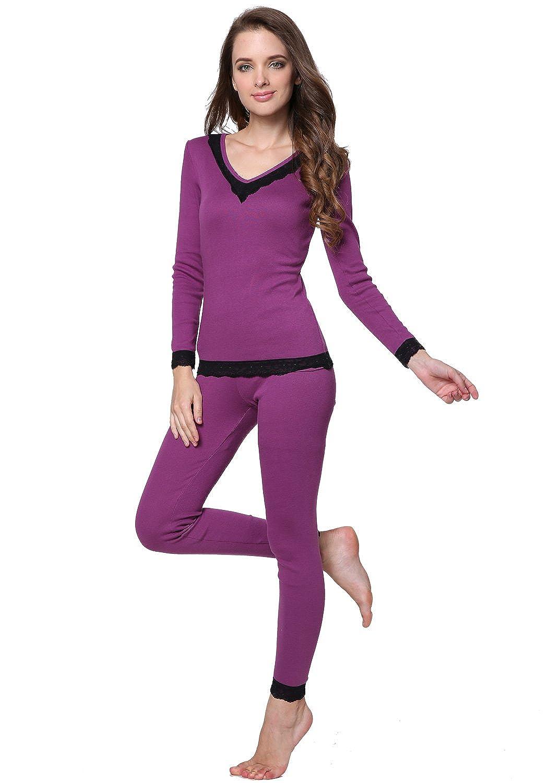 Godesen Women's Thermal Underwear Set Cotton Fabric Top & Bottom (L, Purple)