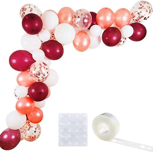 Berry Bridal Shower 21st Celebration For Birthdays Burgundy Sweet 16 Baby Showers Pink Round Balloon Arch Kit Balloon Garland Set