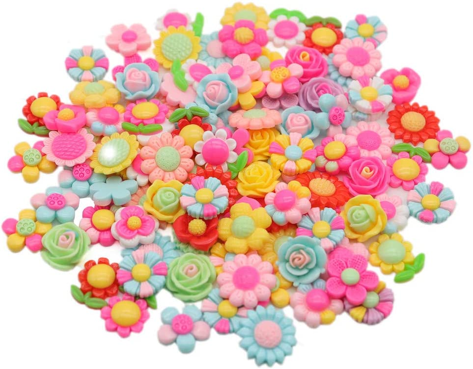 Slime Charms Cute Set - Charms for Slime Assorted Flower Flatback Resin Cabochons for Craft Making, Ornament Scrapbooking DIY Crafts