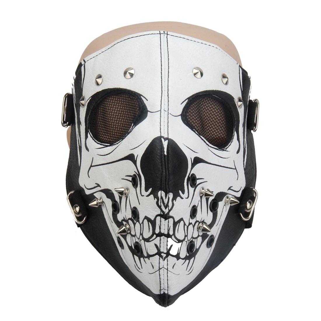 HuiZhi Leather Rivet Skull Riding Mask Punk Half Face Dust Windproof Mask