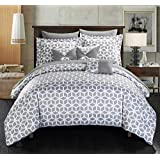 Chic Home 10 Piece Stefanie Geometric Diamond Printed Reversible Bed with White Sheets, Queen, Grey