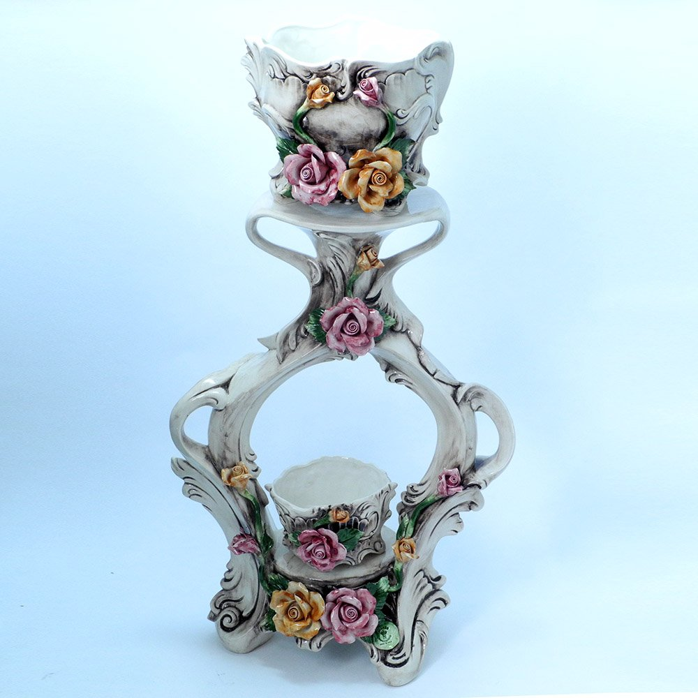 イタリア製 バラ 陶花付き ツイン プランター コラム カポディモンテ 陶器 フラワースタンド son-1566 B07951WMFW