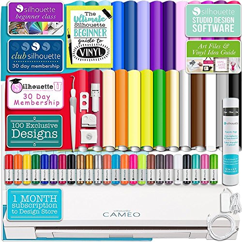 (Silhouette Cameo 3 White Bluetooth Starter Bundle with 26 Oracal Vinyl Sheets, Transfer Paper, Class, Guide and 24 Sketch Pens)