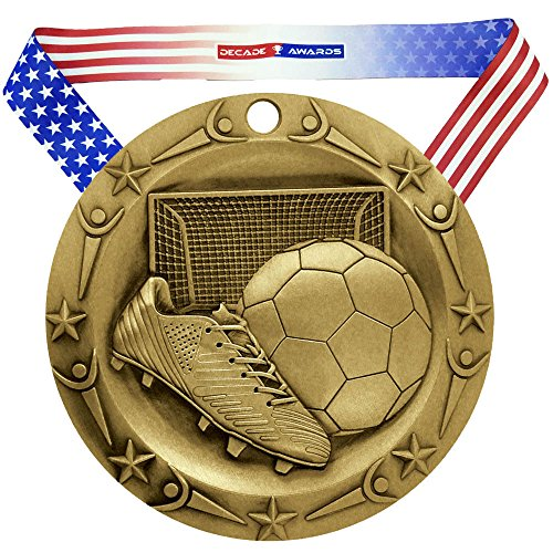 (Decade Awards Soccer World Class Medal - Gold | WCM Futbol First Place Award | Includes Stars and Stripes American Flag Neck Ribbon | 3 Inch Wide)