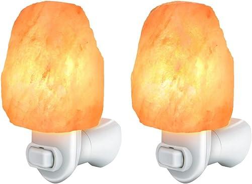 Cozyswan Salt Lamp Himalayan Rock Salt Light Glow Hand Carved Natural Amber Crystal Himalayan Wall Plug