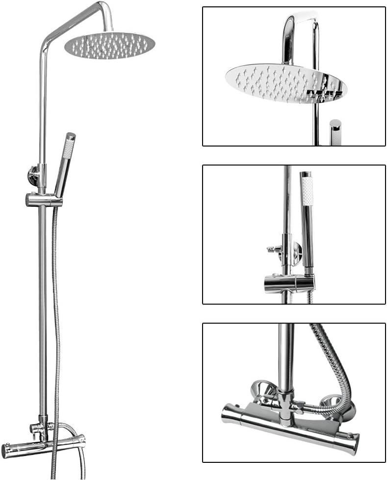 Modern Ultra Thin 8 Round Rain Shower Head Hand Held Shower Vesuvio Inga Thermostatic Stainless Steel Mixer Shower Set