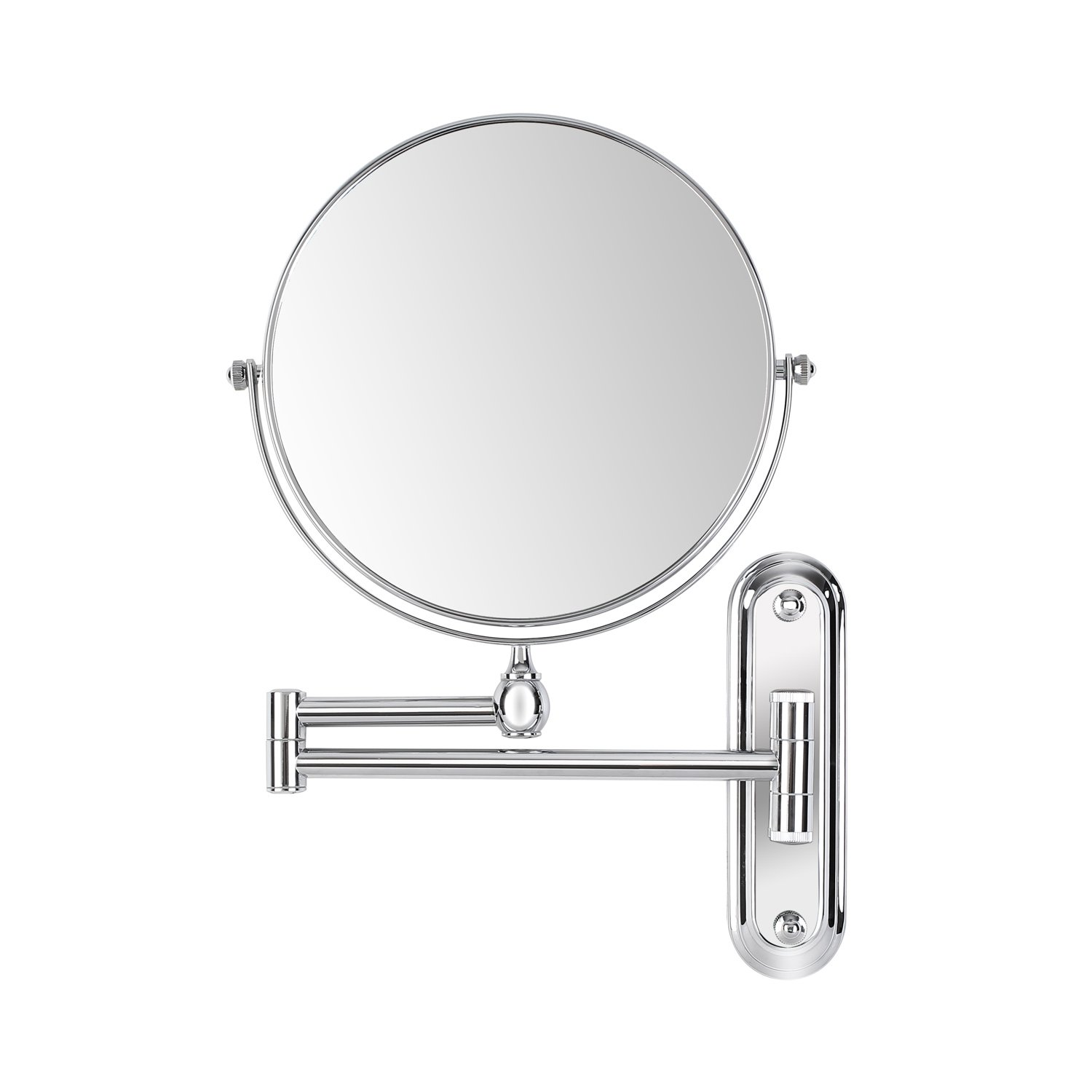 FEMOR 10x/1x Magnification Makeup Mirror 8 Inch Wall Mounted Bathroom Mirror Double-sided Vanity Swivel Mirror, Extendable and Chrome Finished