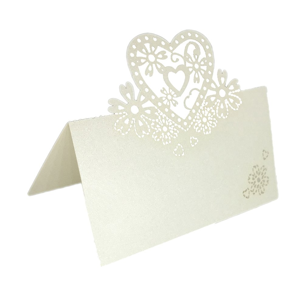 SIX VANKA Name Card Pack of 62pcs LOVE Table Numbers Guest Seating Escort Place Cards for Wedding Party Banquets Events Cake Shop Decoration Ivory Color (LOVE Place Cards)