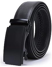 SVANZE Men Leather Ratchet Black Belt with Automatic Buckle 1 3/8'' Wide - Adjustable Trim to Fit