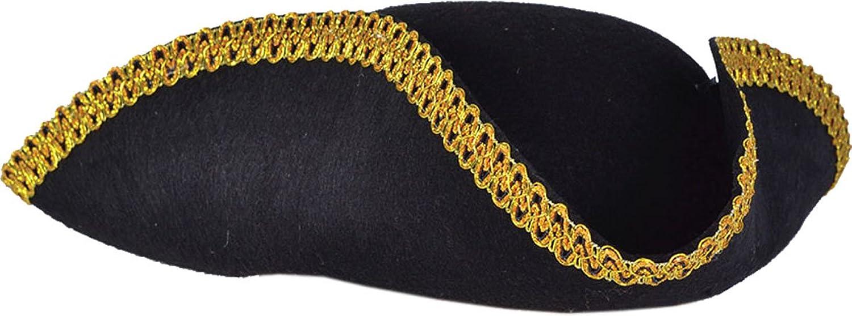 Men's Pirate Guv'nah Black Felt Tricorn Gold Trim Hat - DeluxeAdultCostumes.com