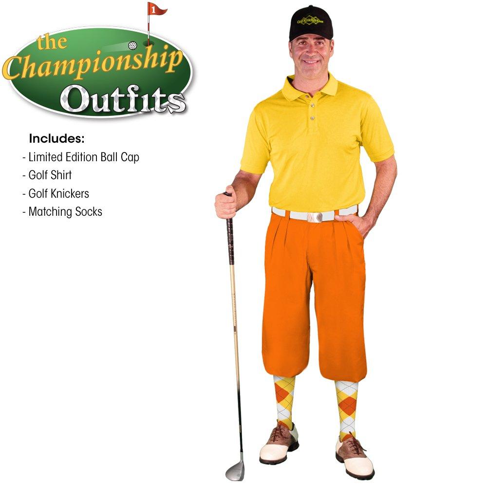メンズゴルフKnicker Outfit – オレンジマイクロファイバーゴルフKnickers、Limited Editionボールキャップ、over-the-calfアーガイルソックス、イエローマイクロファイバーゴルフシャツ B074N8MRL2 Shirt Size - Medium|Waist-56 Waist-56 Shirt Size - Medium