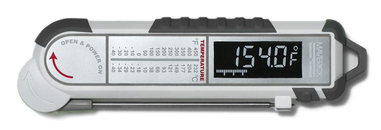 Maverick PT-100 Pro-Temp Commercial Smoker BBQ Probe Meat Thermometer, 5-Inch, White/Gray by MAVERICK
