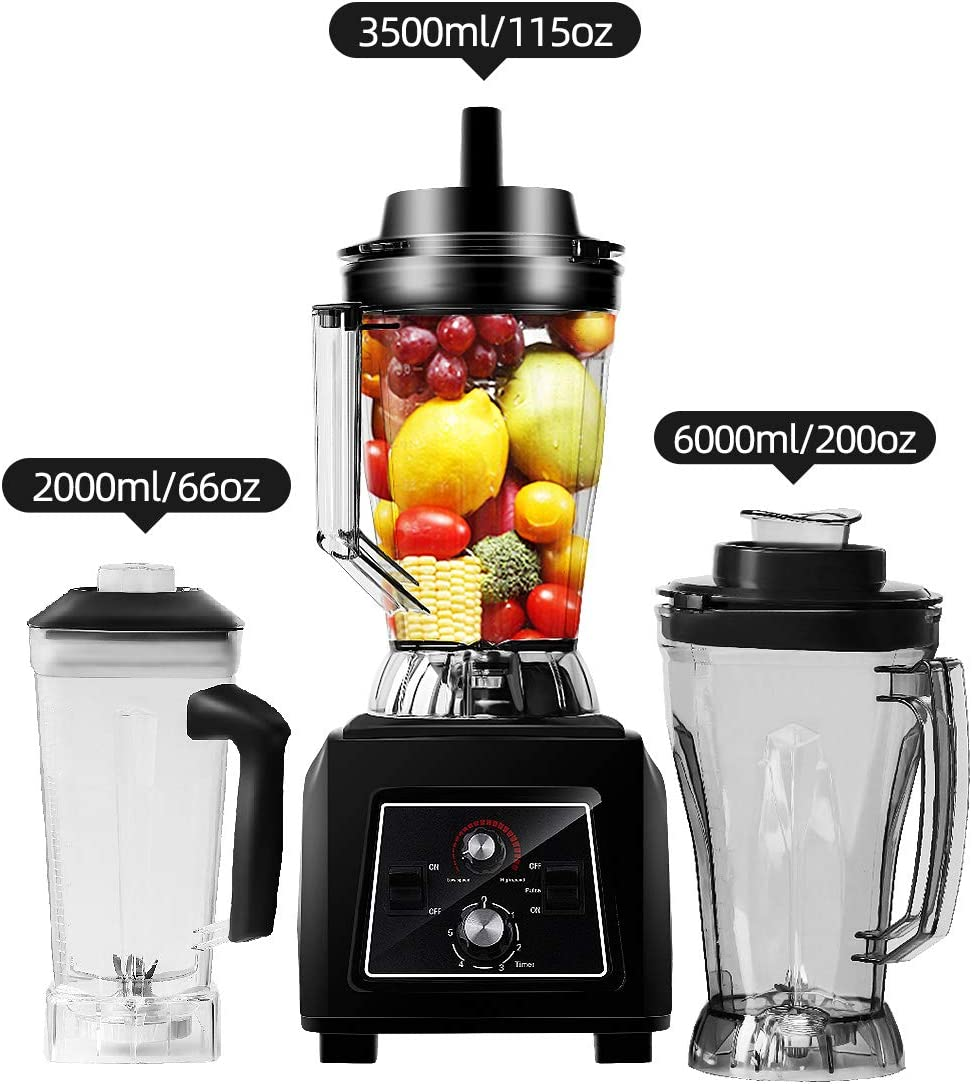 WantJoin Commercial blender Professional Blender for Ice Smoothie Super volume 3500ML(105oz), 45000 RPM High Speed Professional Countertop Blender for Shakes and Smoothies Puree hummus (black)