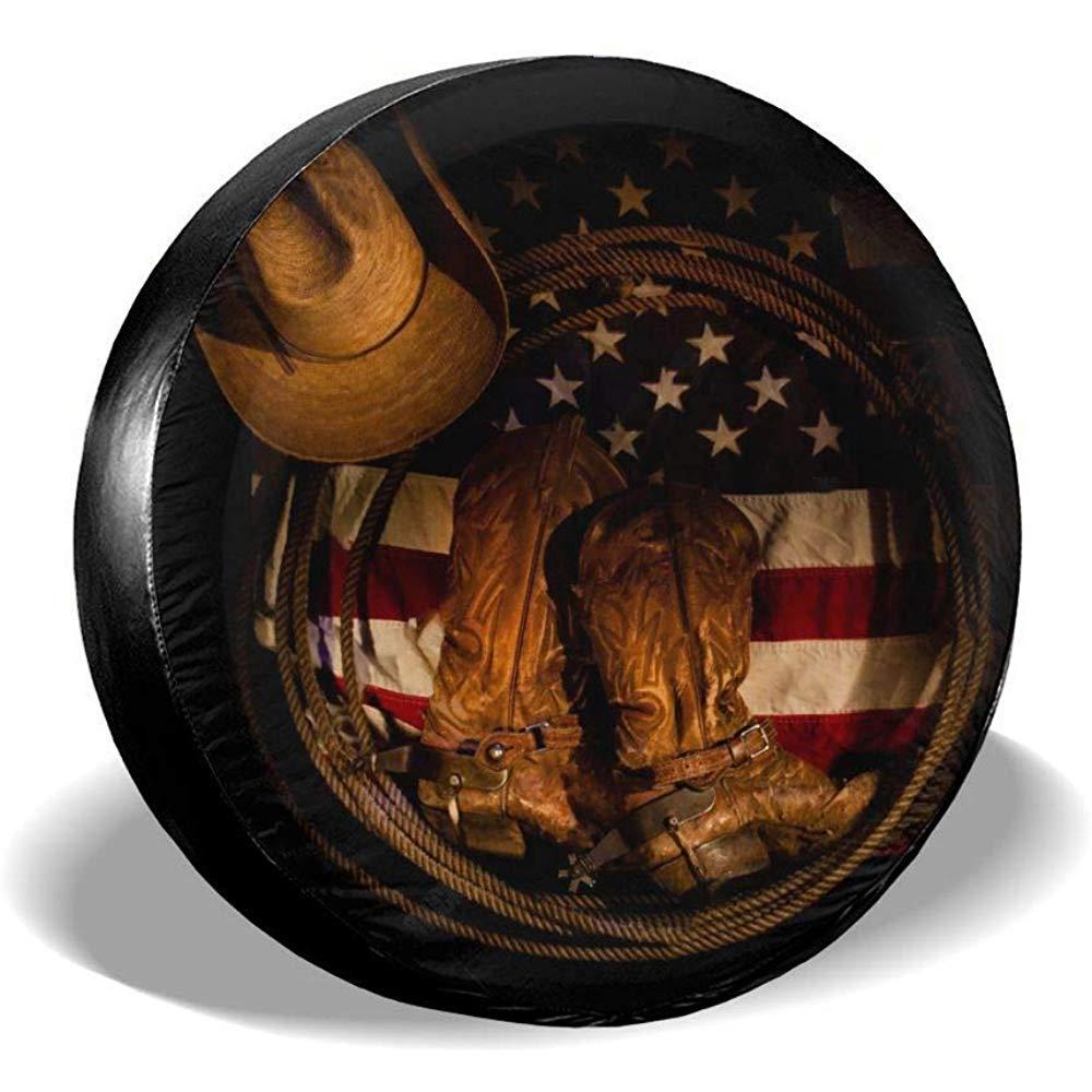 Hiram Cotton Spare Tire Cover Copriruota di Scorta Cowboy USA Copriruota Impermeabile Protezioni per Pneumatici per Auto Potabile Misura Universale per Jeep Wrangler Truck Camper 14-17 Pollici