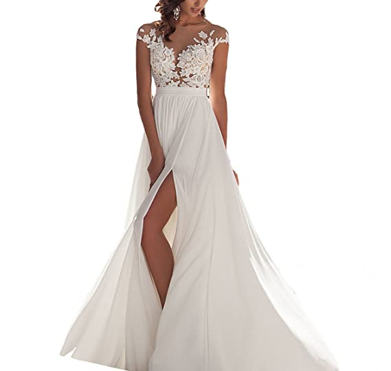 Fishlove 2017 vestido de novia Cap Sleeves Chiffon Sheer Lace Bridal Wedding Gowns With Slit W5 at Amazon Womens Clothing store: