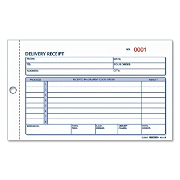 REDIFORM Delivery Receipt Book, Carbonless, 4.25 X 6.375u0026quot; 50  Duplicates ...  Delivery Ticket Template
