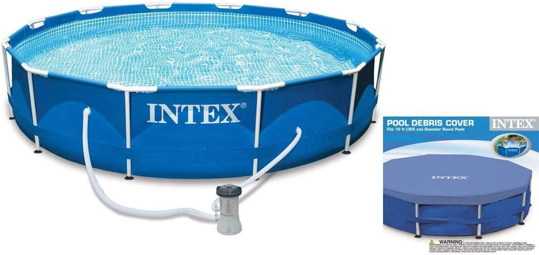 Intex 10 x 2.5 Foot Metal Frame Swimming Pool Set w/ Filter Pump + Debris Cover: Amazon.es: Jardín