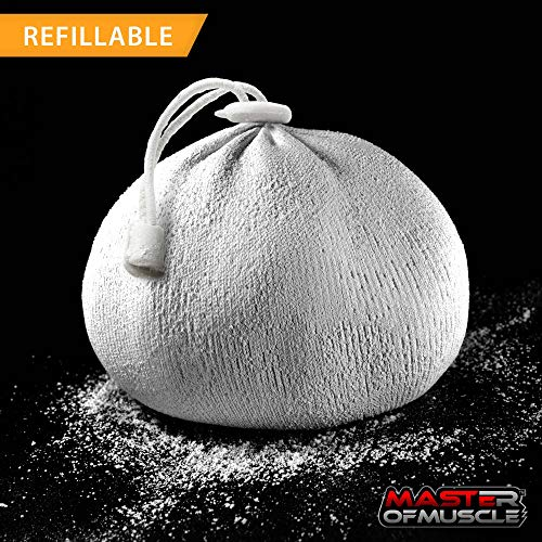 Master of Muscle - Chalk Bag Ball - Perfect for Rock Climbing, Weight Lifting, Gym, Workout, Gymnastics, and Powerlifting - Includes Workout eBook with Elite Lifting Techniques (White)