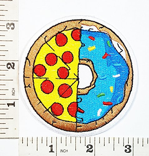 Food Logo Fantasy food Pizza & Donut Logo Patch Symbol Jacket T-shirt Patch Sew Iron on Embroidered Sign Badge Costume (Patch Donut)
