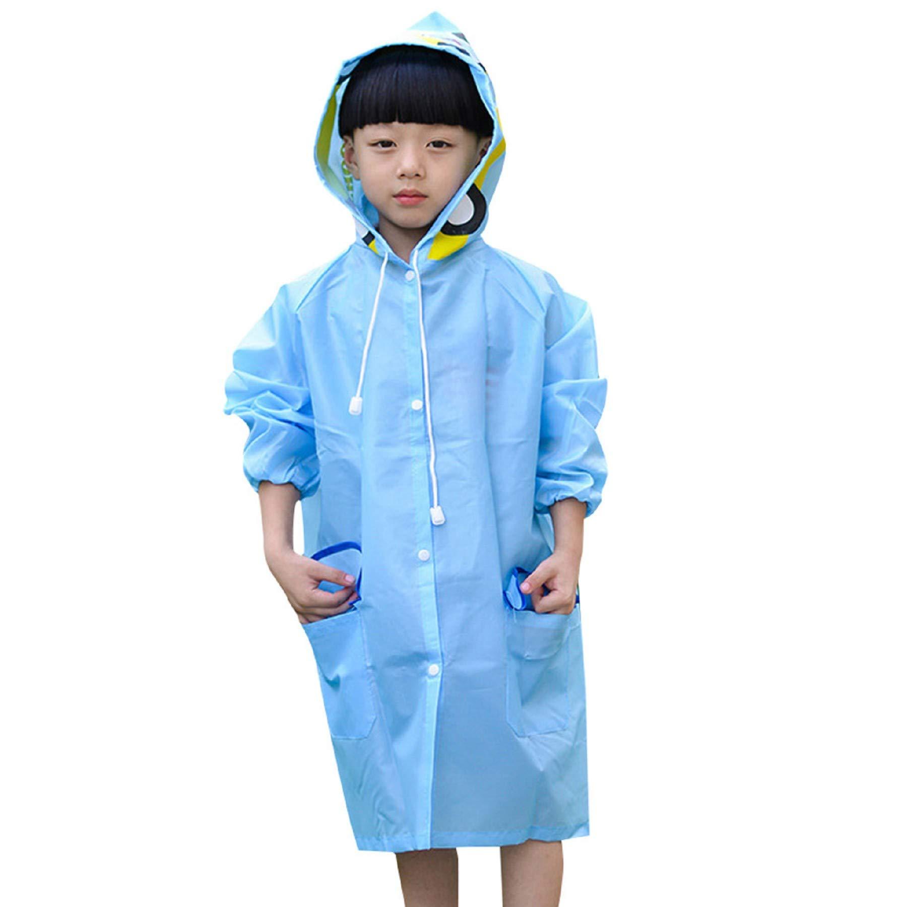 Leedford Kids Raincoat, Children's Waterproof Rainwear Carton Waterproof Hood Jacket Outdoor Age 2~12 (Free Size, Blue)