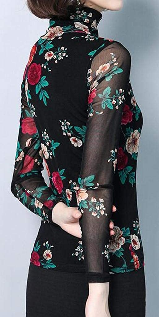 XiaoTianXinWomen XTX Women Flower Print Long Sleeve Turtleneck Stretch Top Blouse T-Shirt