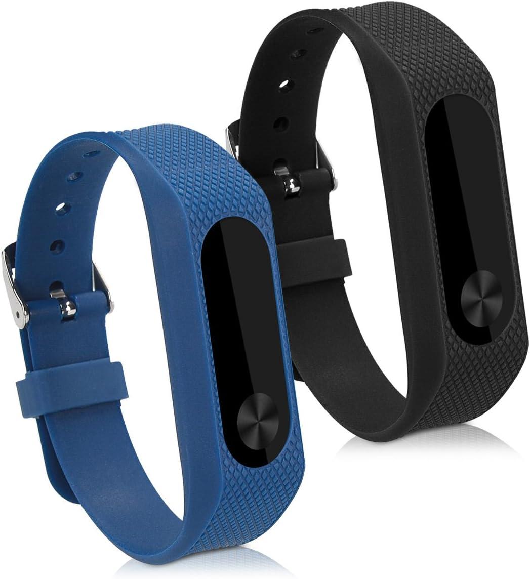kwmobile 2X Pulsera Compatible con Xiaomi Mi Band 2 - Brazalete de Silicona Negro/Azul Oscuro sin Fitness Tracker