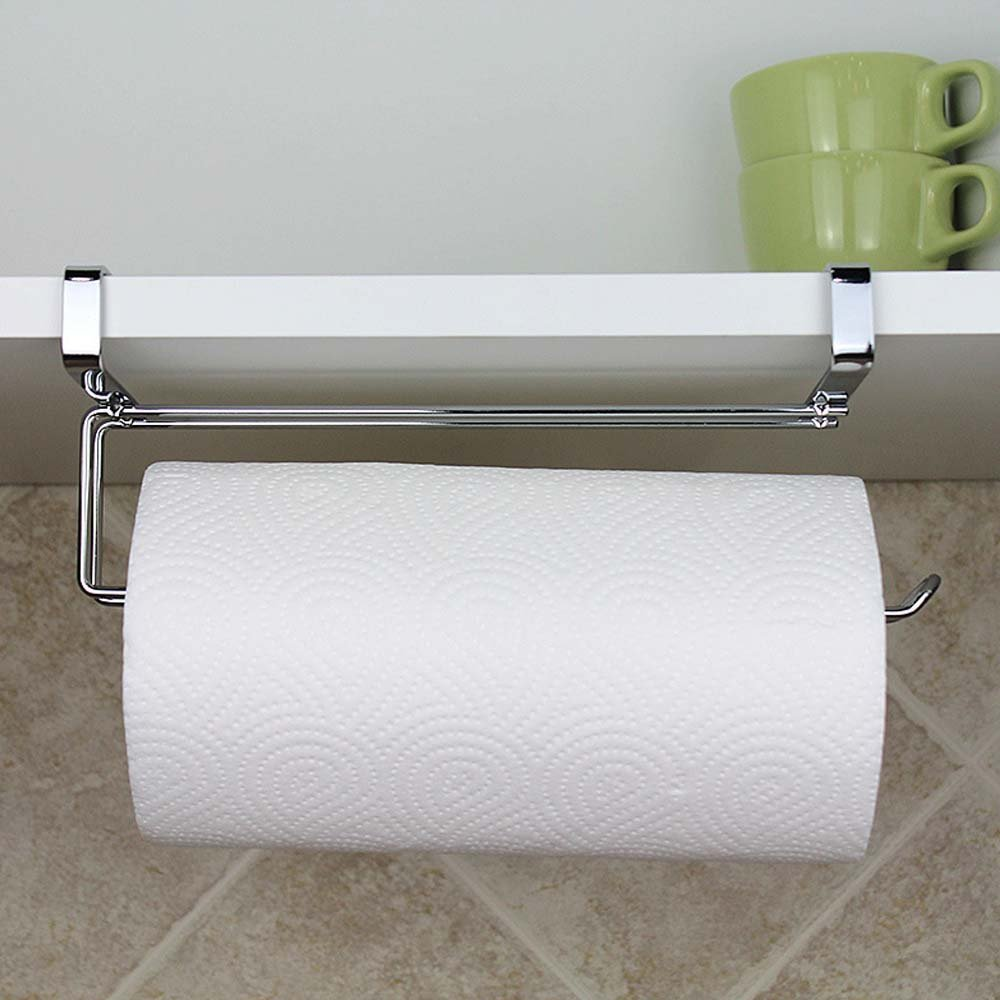 SYIDINZN Paper Towel Hanger Holder, Stainless Steel Kitchen Roll Paper Towel Holder Tissue Hanger Organizer Rack Kitchen Under Cabinet Over Door (Paper Towel Holder-A)