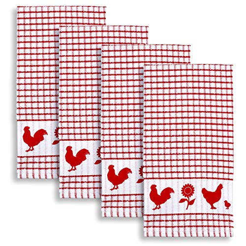 Cackleberry Home Backyard Chickens Windowpane Check Cotton Terrycloth Kitchen Towels, Set of 4 (Red)