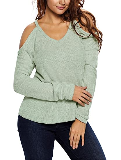 87f65158df367 iNewbetter Womens V Neck Cut Out Cold Open Shoulder Long Sleeves Loose Knitted  Sweater Top Blouse IN27624-Green-L at Amazon Women s Clothing store