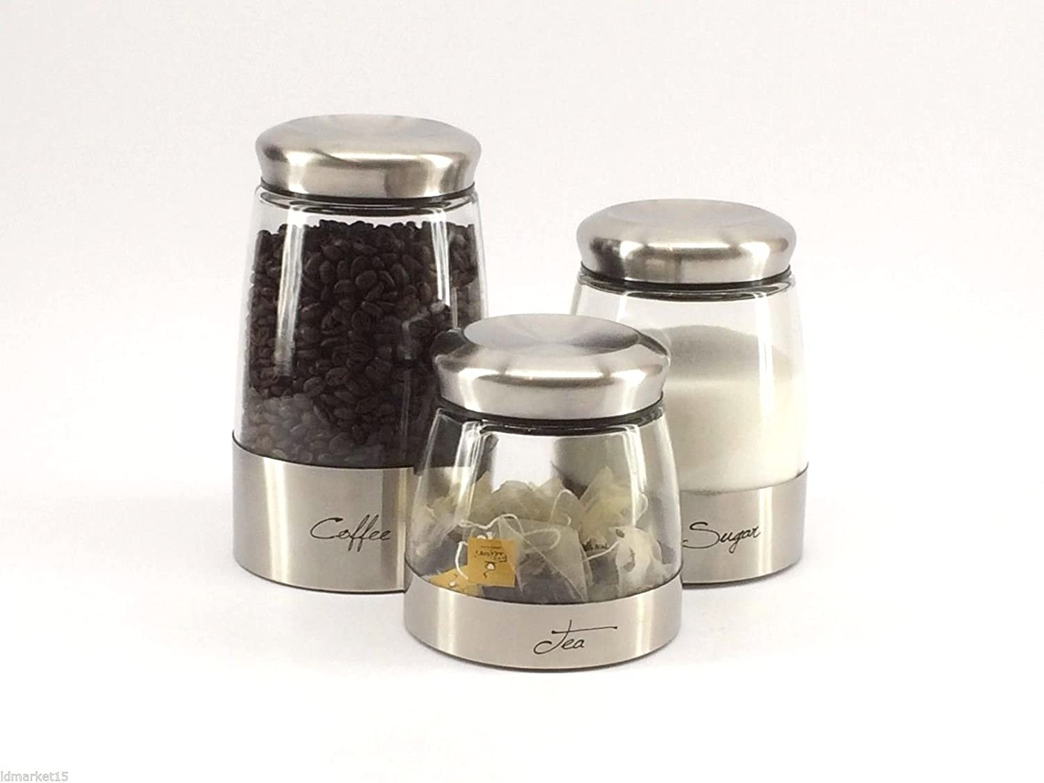 amazon com set of 3 kitchen canisters stainless steel with glass