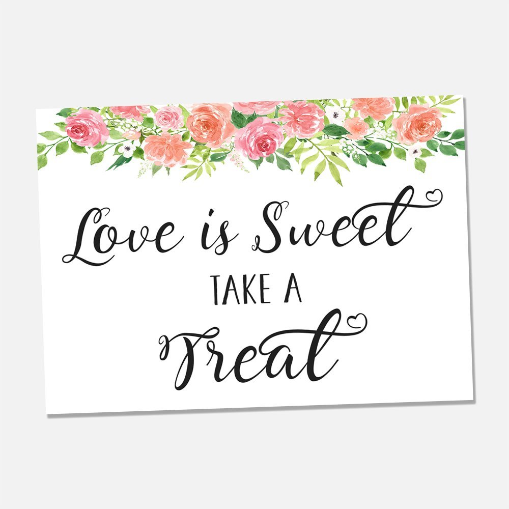 Pleasing Amazon Com Floral Love Is Sweet Take A Treat Wedding Print Interior Design Ideas Tzicisoteloinfo