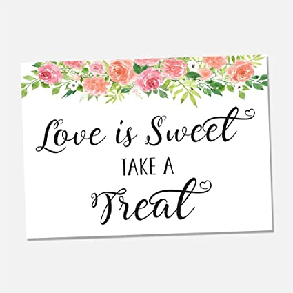 Outstanding Amazon Com Floral Love Is Sweet Take A Treat Wedding Print Interior Design Ideas Tzicisoteloinfo