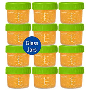 Glass Baby Food Storage Containers 4 oz Glass Baby Food Jars with Lids Reusable Leak-Proof for Infant and Babies Microwave and Dishwasher Safe Set of 12 Green